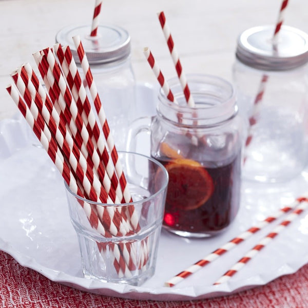 Red & White Foiled Christmas Straws