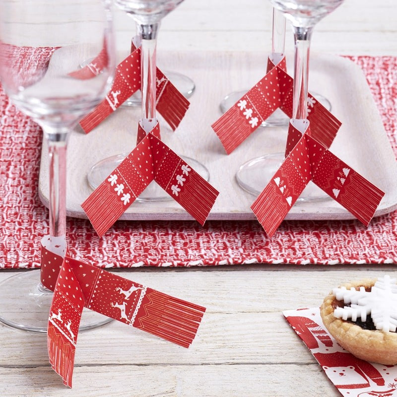 Red & White Festive Glass Scarf Decorations