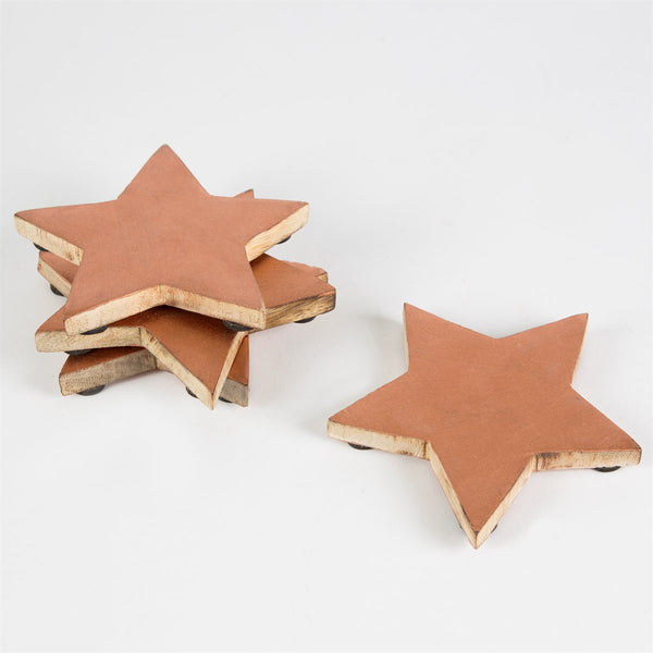 Set Of 4 Copper Finish Wooden Star Coasters