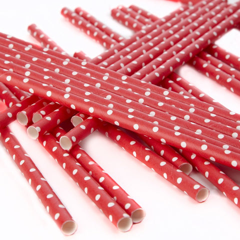 Red Polka Dot Paper Straws - Feeling Quirky