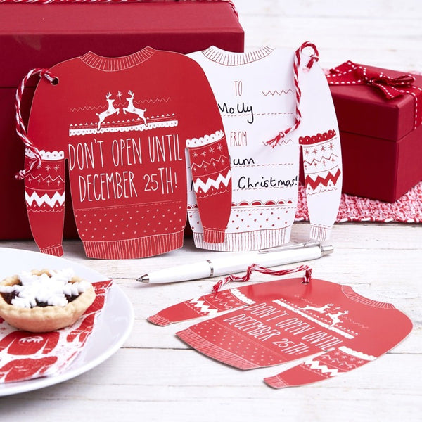 Red And White Festive Giant Jumper Gift Tags