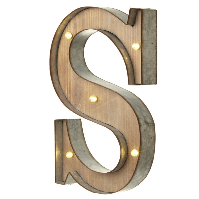 Large Light Up Letter 'S' With LED - Feeling Quirky