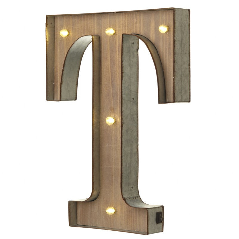 Large Light Up Letter 'T' With LED - Feeling Quirky