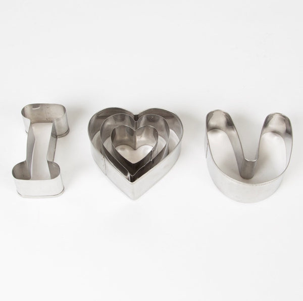 Set Of 5 I Love You Cookie Cutters