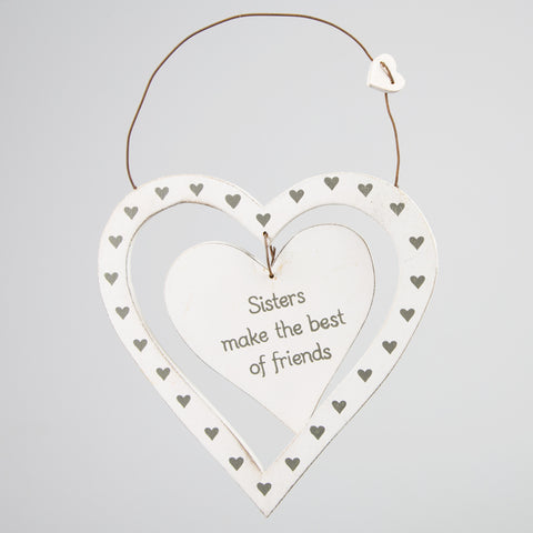 Sisters Make The Best Of Friends Dainty Heart Plaque - Feeling Quirky