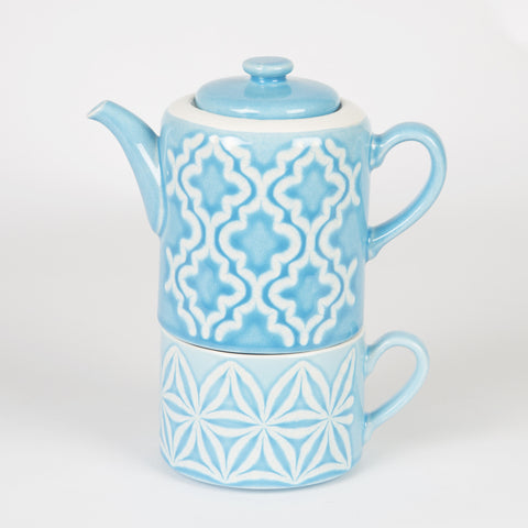 Tea For One Teapot & Blue Cup - Feeling Quirky