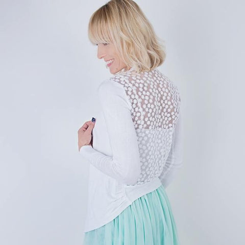 Pretty Cardigan With Daisy Detail Back Panel - Feeling Quirky