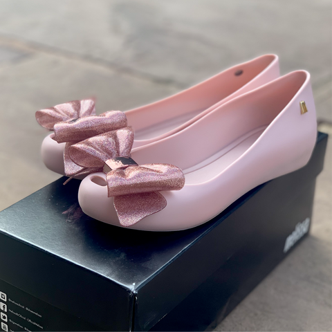 Melissa UltraGirl Sweet Bow Pink Ballet Pump UK 3