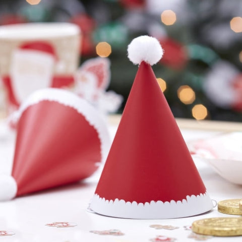 Mini Christmas Santa Pom Pom Party Hats