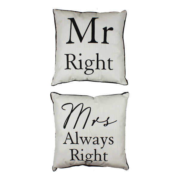 Mr Right & Mrs Always Right Cushion - Feeling Quirky