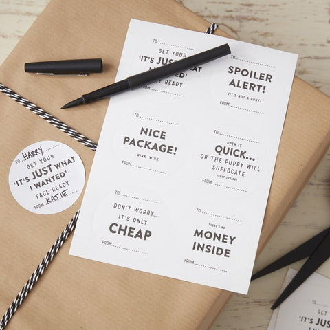 Naughty Gift Wrap Stickers - Feeling Quirky