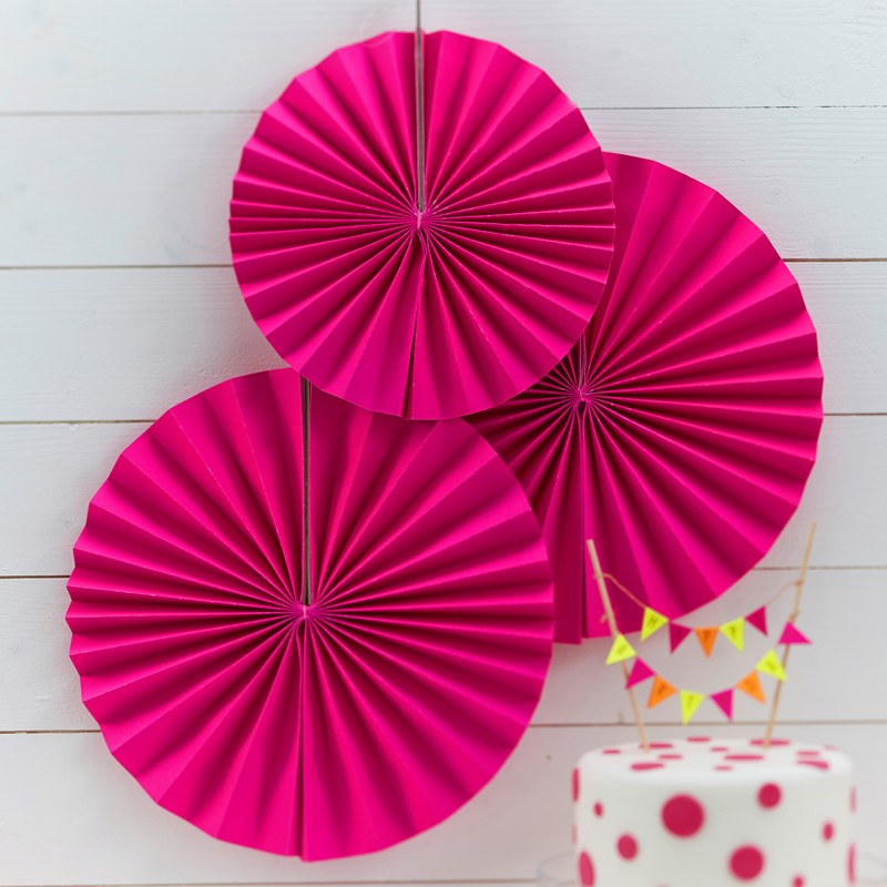 Neon Pink Pinwheel Fan Decorations - Feeling Quirky