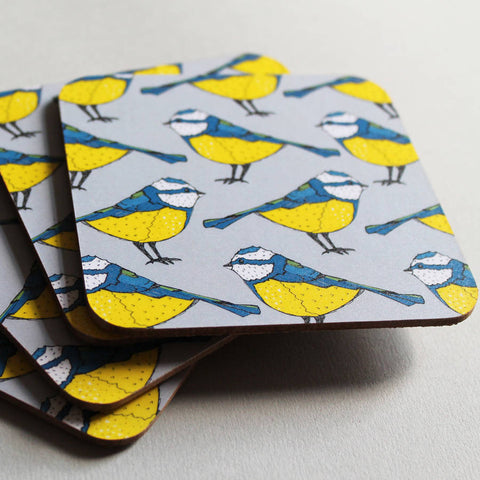 Bold Blue Tit Coaster Set - Feeling Quirky