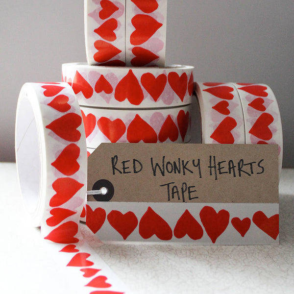 Wonky Hearts Gift Tape