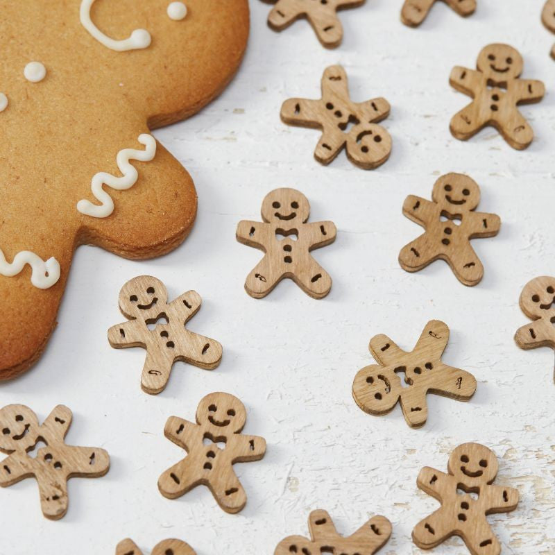 Christmas Wooden Gingerbread Men Table Confetti