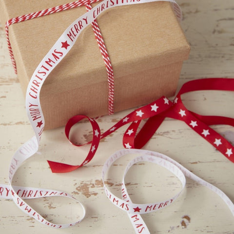Red And White Merry Christmas And Star Ribbon & Twine Kit