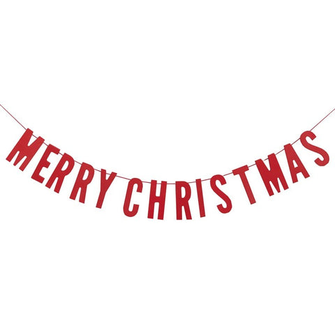 RED FESTIVE MERRY CHRISTMAS WOODEN BUNTING - COSY CHRISTMAS
