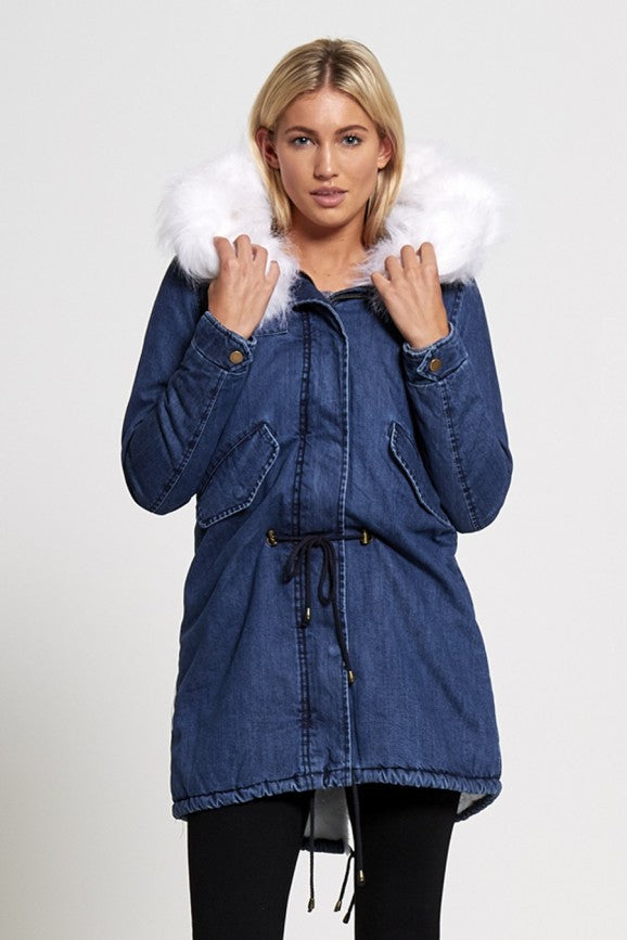 exklusiver Damen-Wintermantel in Jeansoptik (Womens Denim Fur Hood Parka Coat)