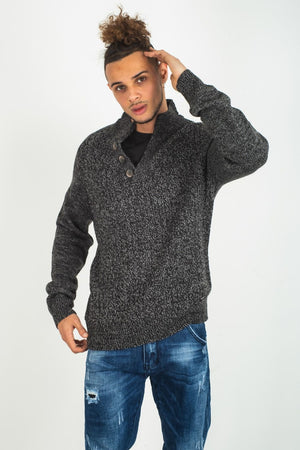 V-Neck-Pullover für Herren, Button