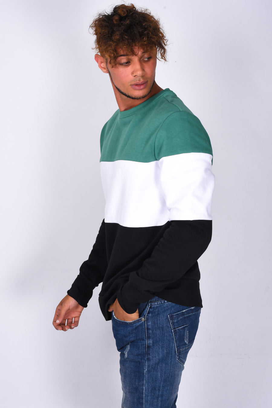 Crewneck Sweatshirt, Colourblock, grün gestreift