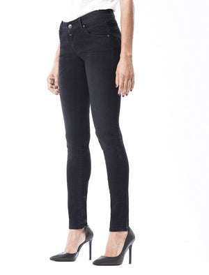 Gina, Low Waist, Skinny Push Up, Black Vintage