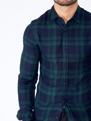 Hemd für Herren aus Viscose, Modell: Long Sleeve Viscose Check Shirt, Farbe: greenchecked