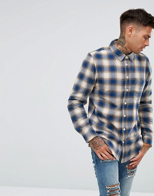 Hemd für Herren, Farbe: navy, Modell: Full Sleeve Brushed Cotton Check Shirt