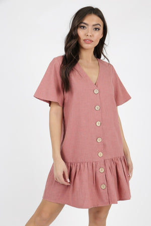 Kleid für Damen, Modell: Cotton Button Detail Frill Hem Smock Dress, Farbe: pink