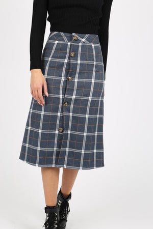 Rock für Damen, Modell: Plaid Button Down Midi Skirt, Farbe: blaukariert
