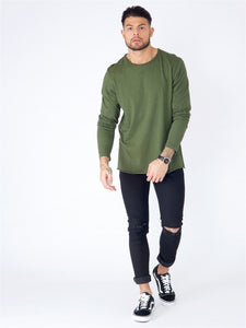 Langarm Shirt für Herren, Farbe: khaki, Modell: Basic Raw Edge Top