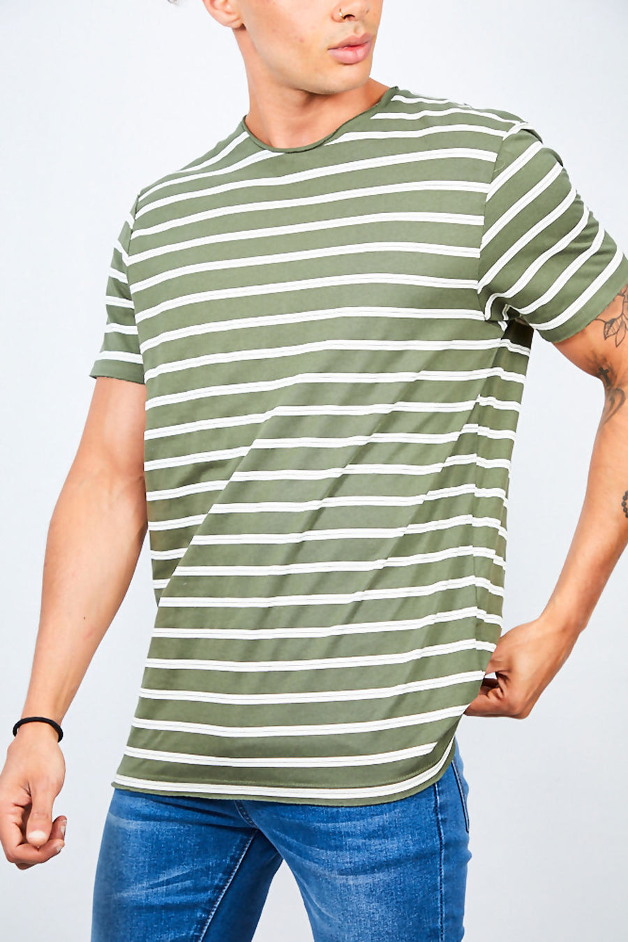 T-Shirt, Rolled Detail Striped