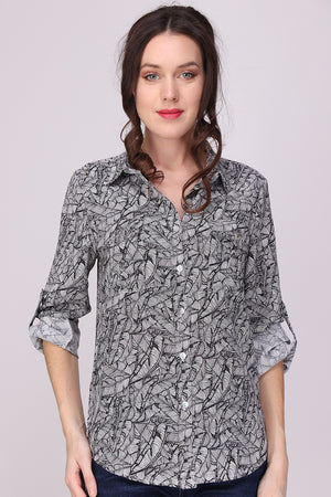 Bluse für Damen, black/white