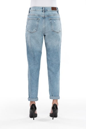 Lynn, Boyfriend/Mom Jeans, Light blue Destroyed