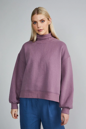 Oversleeved Sweater für Damen, Ballonärmel, flieder