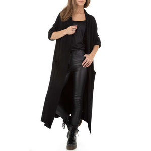 Langcardigan für Damen, Materialmix