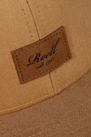 Reell 6-Panel suede Cap, ocre brown