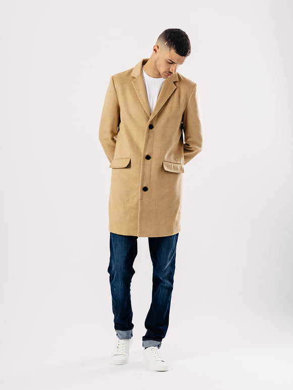Herrenmantel (Melton Overcoat) in Farbe: tan
