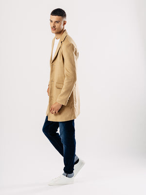 Mantel für Herren, Melton Overcoat, tan