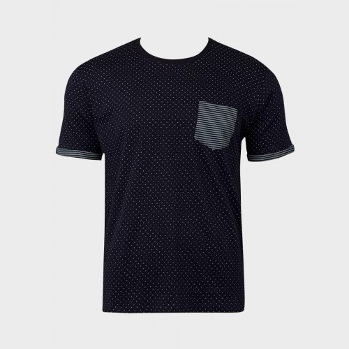T-Shirt für Herren, Farbe: navy, Modell: Chest Pocket Polka Dot
