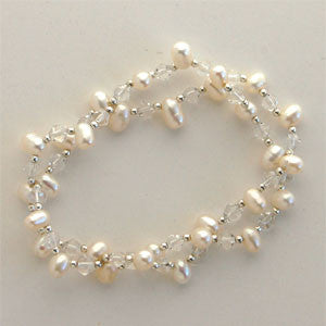 Rice Pearl and Crystal Bracelet (3 Colors to choose)