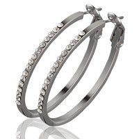 Swarovski Crystal Hoop Earrings (Round, 1-1/2 inches, E0229)