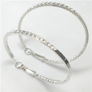 Swarovski Crystal Hoop Earrings (Round, 1-3/4 inches, E0233)