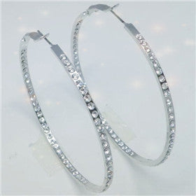 Swarovski Crystal Hoop Earrings (Round, 2-1/4 inches, E0410)