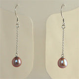 Sterling Silver Single Pearl Drop Earrings on chain (5 Colors to choose)