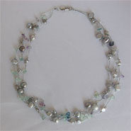 Station Style Pearl and Crystals on Silver Strand (3 Colors to choose)