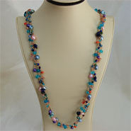 "Three Strands 32"" Pearls and Crystals Necklace (4 Colors to choose)"