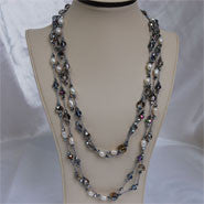 "49"" Pearl and Crystal Long Necklace (6 Colors to choose)"