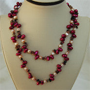 Red Pink Pearls and Natural Jasper Necklace (2 Colors to choose)