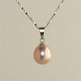 8.5 mm Pearl Pendant on Sterling Silver chain (4 Colors to choose)