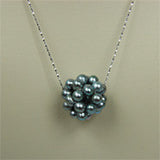 Snowball Pearl Pendant on Sterling Silver chain (4 Colors to choose)